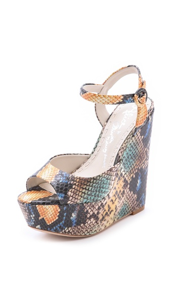 alice + olivia Stella Snake Embossed Wedge Sandals
