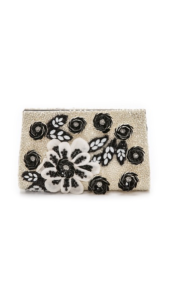 alice + olivia Carole Beaded Floral Clutch