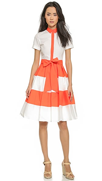 Alice + Olivia Mary Shirtdress - White/Sunset