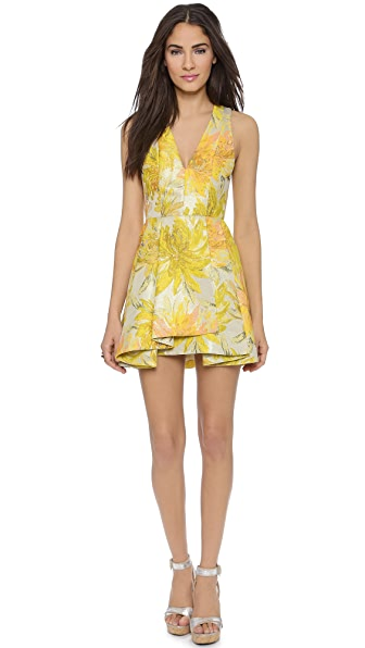 Alice + Olivia Tanner V Neck Flare Dress - Yellow Multi