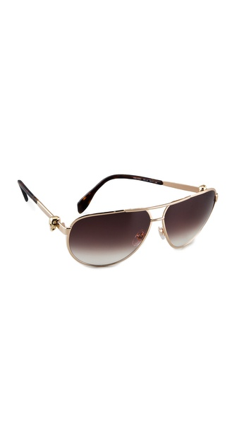 Alexander Mcqueen Aviator Sunglasses - Gold at Shopbop / East Dane