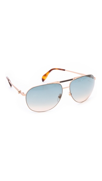 Alexander Mcqueen Oversized Aviator Sunglasses - Gold Shiny Matte/Brown Mirror at Shopbop / East Dane