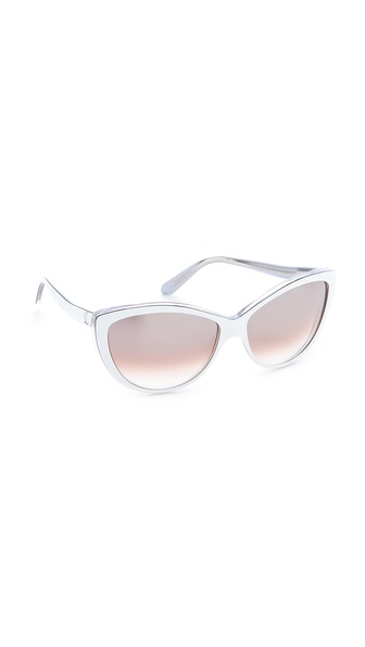 Alexander Mcqueen Oversized Cat Eye Sunglasses - White/Black/Peach at Shopbop / East Dane