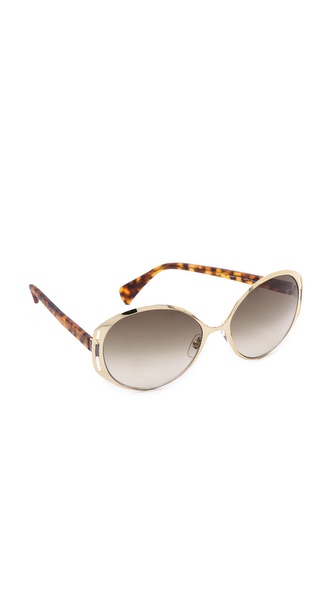 Alexander Mcqueen Oval Sunglasses - Gold/Olive Gradient at Shopbop / East Dane
