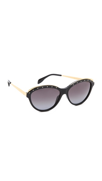 Alexander Mcqueen Studded Sunglasses - Black/Grey Gradient at Shopbop / East Dane