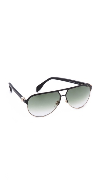 Alexander Mcqueen Flat Top Aviator Sunglasses - Matte Black/Green Gradient at Shopbop / East Dane