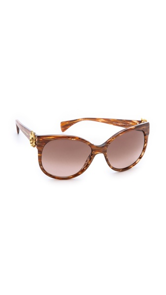 Alexander Mcqueen Classic Gradient Suglasses - Brown Striped/Brown Gradient at Shopbop / East Dane