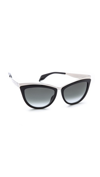 Alexander Mcqueen Cat Eye Sunglasses - Palladium Black/Grey Gradient at Shopbop / East Dane
