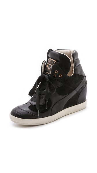Alexander Mcqueen Puma Ofeya Hidden Wedge Sneakers - Black at Shopbop / East Dane