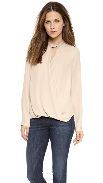 And B Croc Embosssed Crepe Blouse