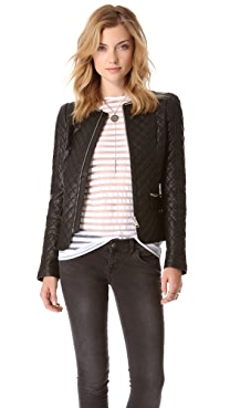 ANINE BING Quilted Leather Jacket