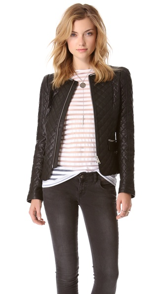 Anine Bing Quilted Leather Jacket - Black at Shopbop / East Dane