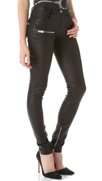 ANINE BING Stretch Leather Skinny Pants