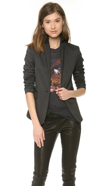 Anine Bing Blazer With Leather Trim - Charcoal at Shopbop / East Dane