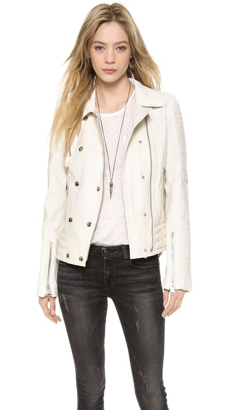 Anine Bing Moto Leather Jacket - White at Shopbop / East Dane