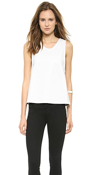 ANINE BING Dirty White Leather Tank Top