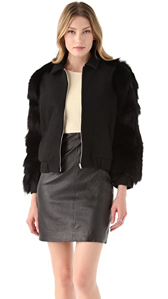Antipodium Vyner Fur Sleeve Bomber Jacket