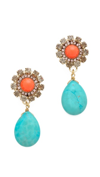 Anton Heunis Cabochon Crystal Drop Earrings