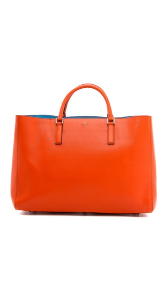 Anya Hindmarch Ebury Maxi Featherweight Handbag - Clementine/London Blue