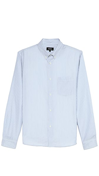 A.P.C. Bengal Stripe Sport Shirt with Button Collar