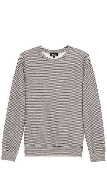 A.P.C. Narrow Stripe Double Face Sweatshirt