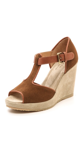 A.P.C. Open Toe Wedge Sandals - Marron at Shopbop / East Dane