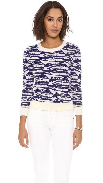 A.P.C. Intarsia Crew Neck Sweater - Ecru at Shopbop / East Dane
