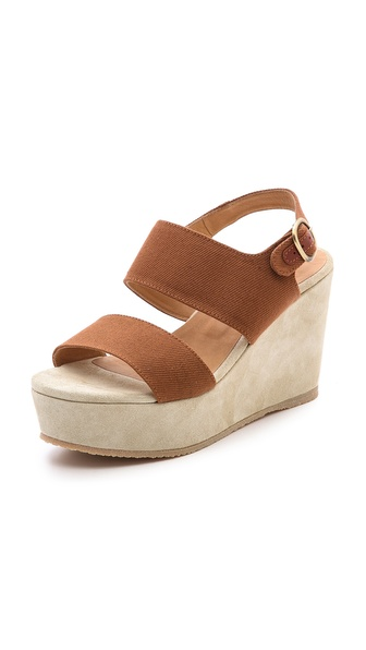 A.P.C. Two Band Wedge Sandals - Noisette at Shopbop / East Dane