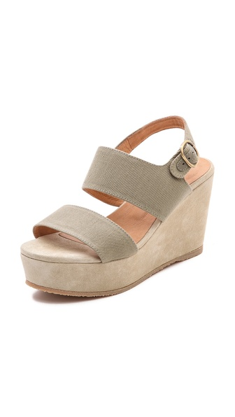 A.P.C. Two Band Wedge Sandals - Kaki at Shopbop / East Dane