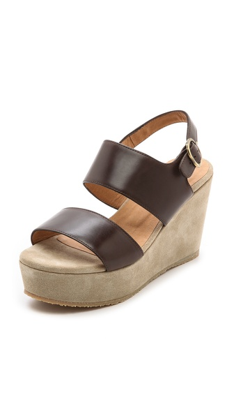 Shop A.P.C. online and buy A.P.C. Two Band Wedge Sandals Dark Brown - A chunky platform wedge adds retro charm to casual leather A.P.C. sandals. Buckled ankle strap. Covered wedge heel and crepe sole. Leather: Calfskin. Made in Portugal. This item cannot be gift boxed. Measurements Heel: 3.25in / 85mm Platform: 1.5in / 40mm. Available sizes: 35,36,37,38,39,40,41
