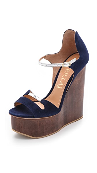 Aperlai Blue Suede Wedge Sandals