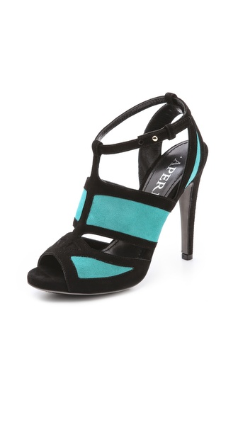 Aperlai Suede Two Tone Heels - Turquoise Blue/Black at Shopbop / East Dane