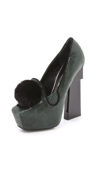 Aperlai Squared Loafer Pumps - Black/Green/Black at Shopbop / East Dane
