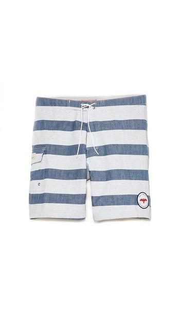 Apolis Striped Chambray Swim Trunks