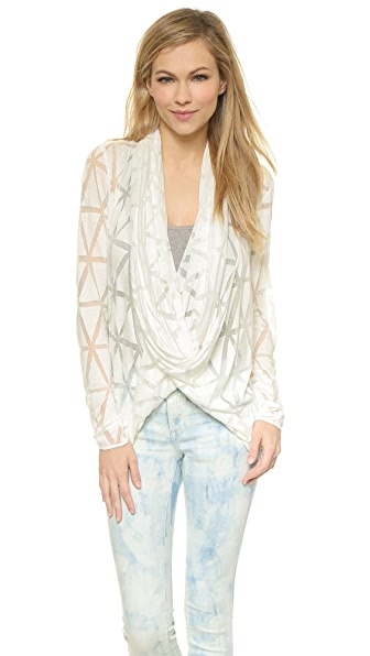 Apres Ramy Brook Lenny Open Front Cardigan - Cloud