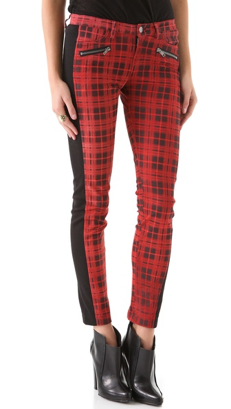 April, May Celeste Cedar Plaid Suede Pants
