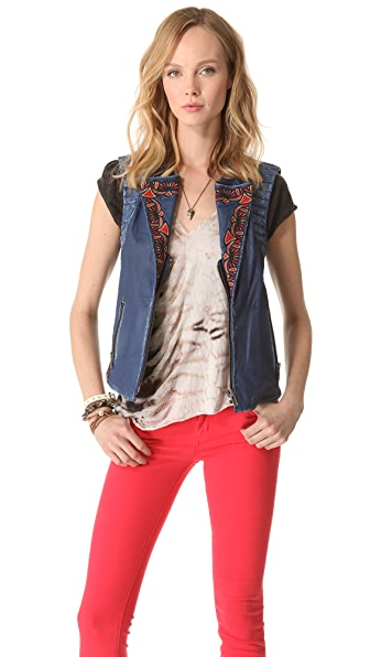 April, May Ben Embroidered Leather Vest