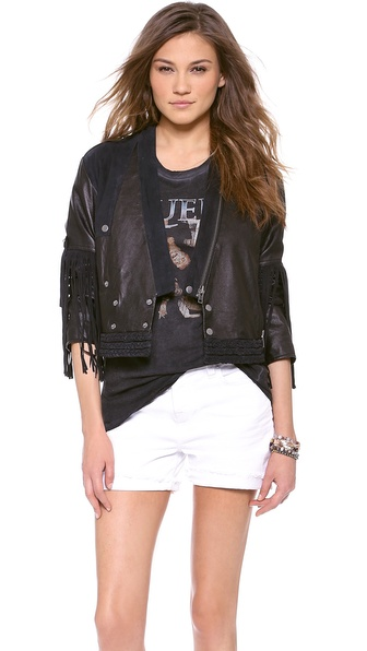 April, May Fellow Fringy Jacket - Black at Shopbop / East Dane