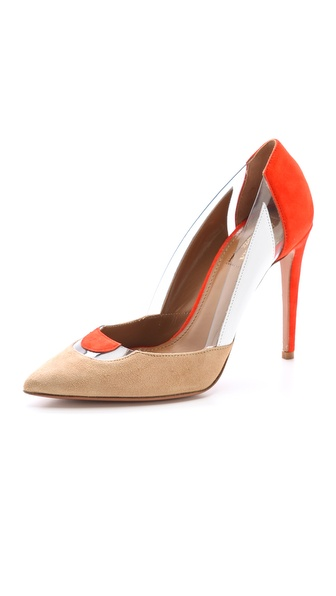 Aquazzura Positano Pumps - Nude/Blood Orange/White at Shopbop / East Dane