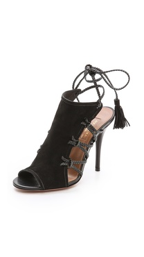 Aquazzura Sahara Braided Lace Up Sandals