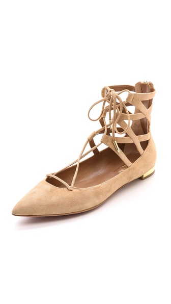 Aquazzura Belgravia Lace Up Flats