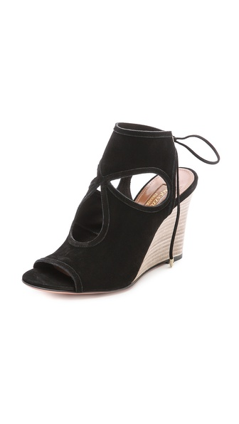 Aquazzura Sexy Thing Wedge Sandals - Black at Shopbop / East Dane