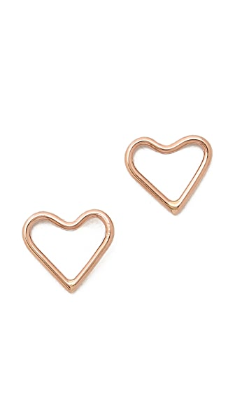 Ariel Gordon Jewelry Delicate Heart Silhouette Stud Earrings