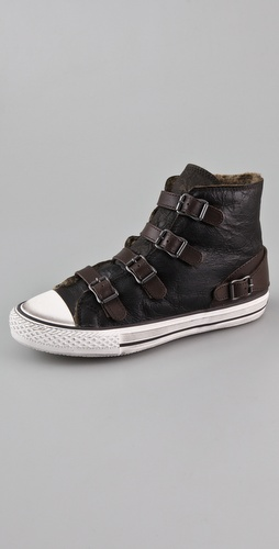 Ash Virgin Suede 4 Buckle Sneakers with Shearling Lining