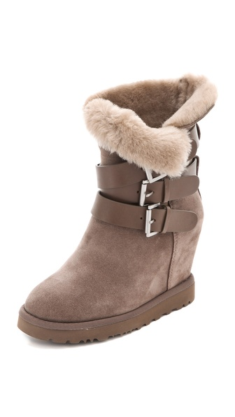 Ash Yes Shearling Wedge Boots