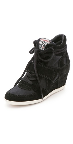 Shop Ash Bowie Suede Wedge Sneakers with Canvas Insets and Ash online - Footwear, Womens, Footwear, Sneakers,  online Store