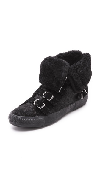 Ash Visby Shearling High Top Sneakers - Black/Black/Black at Shopbop / East Dane