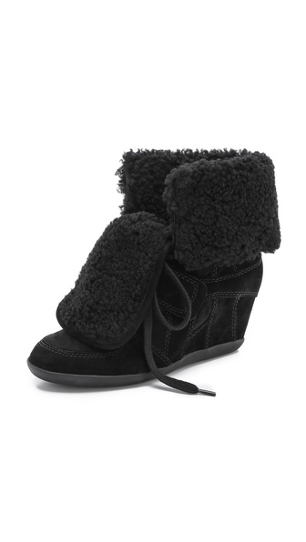 Ash Boogy Shearling Lace Up Wedge High Tops - Black/Black at Shopbop / East Dane