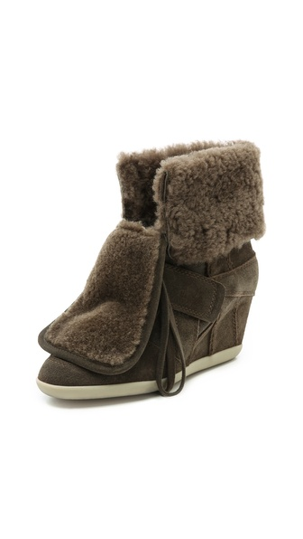 Ash Boogy Shearling Lace up Wedge High Tops
