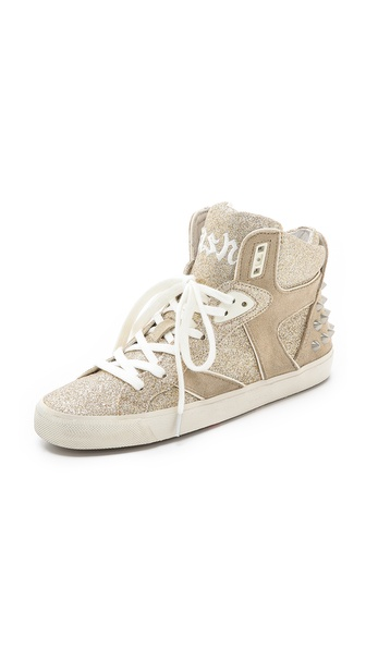 Ash Sonic Glitter Hightop Sneakers - Platine/Platine/Clay at Shopbop / East Dane